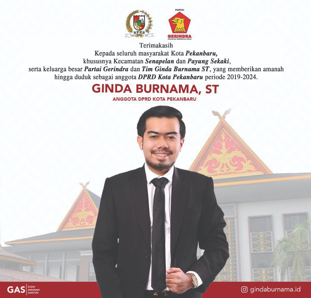 Pelantikan Ginda Burnama, ST anggota DPRD Kota Pekanbaru