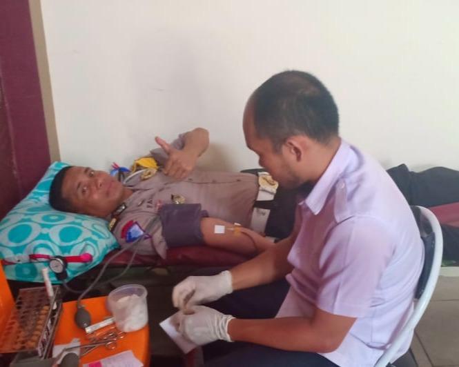 Jelang Hari Lalulintas Bhayangkara Ke 64, Satlantas Polres Kampar Gelar Donor Darah