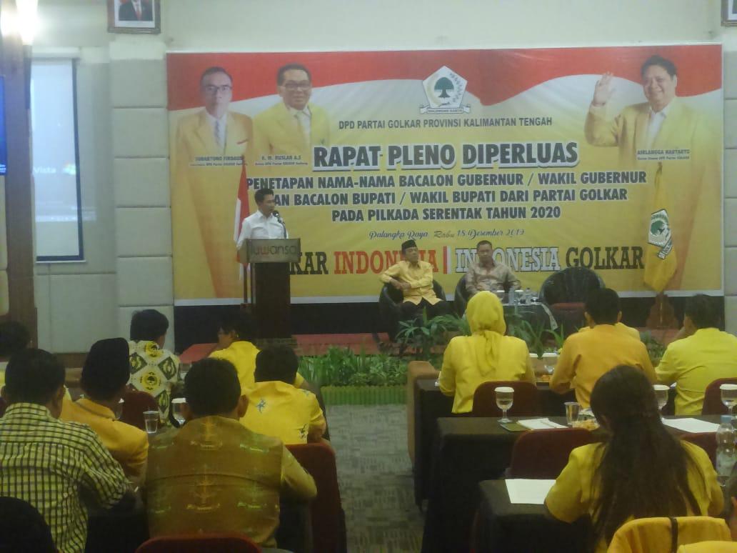 Rapat Pleno Diperluas Penetapan Nama - Nama Bacalon Gubernur/Wakil Gubernur Pada Pilkada Serentak Tahun 2020