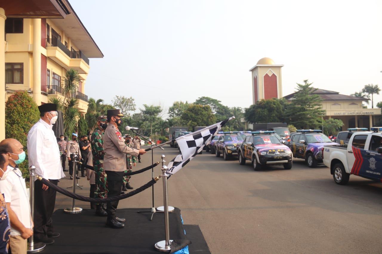 Gubernur Banten Bersama Kapolda Banten dan Danrem 064/MY Lepas Bantuan PPKM Darurat