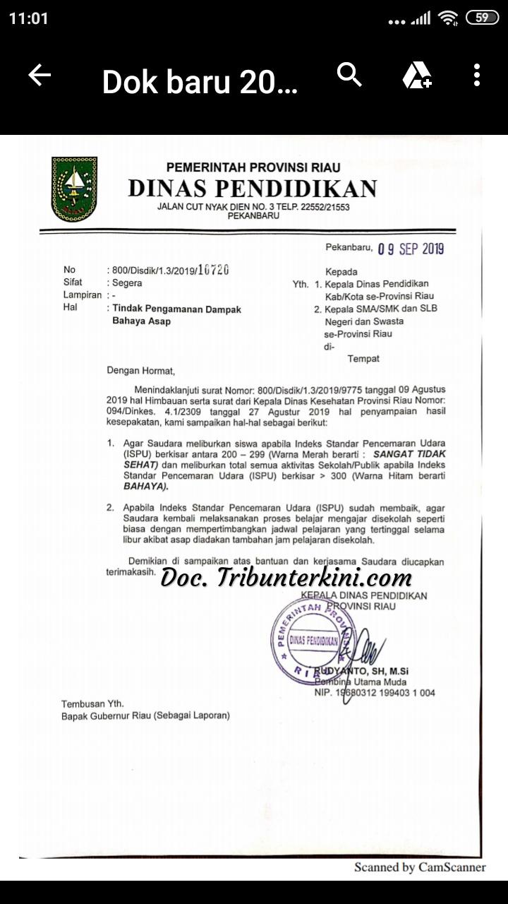 Dinas Pendidikan Provinsi Riau Keluarkan Surat Edaran