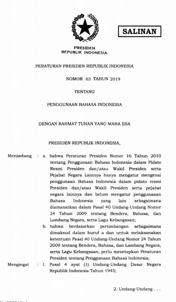 Presiden RI Joko Widodo Menandatangani Perpres Nomor 63 Tahun 2019 Tentang Penggunaan Bahasa Indonesia
