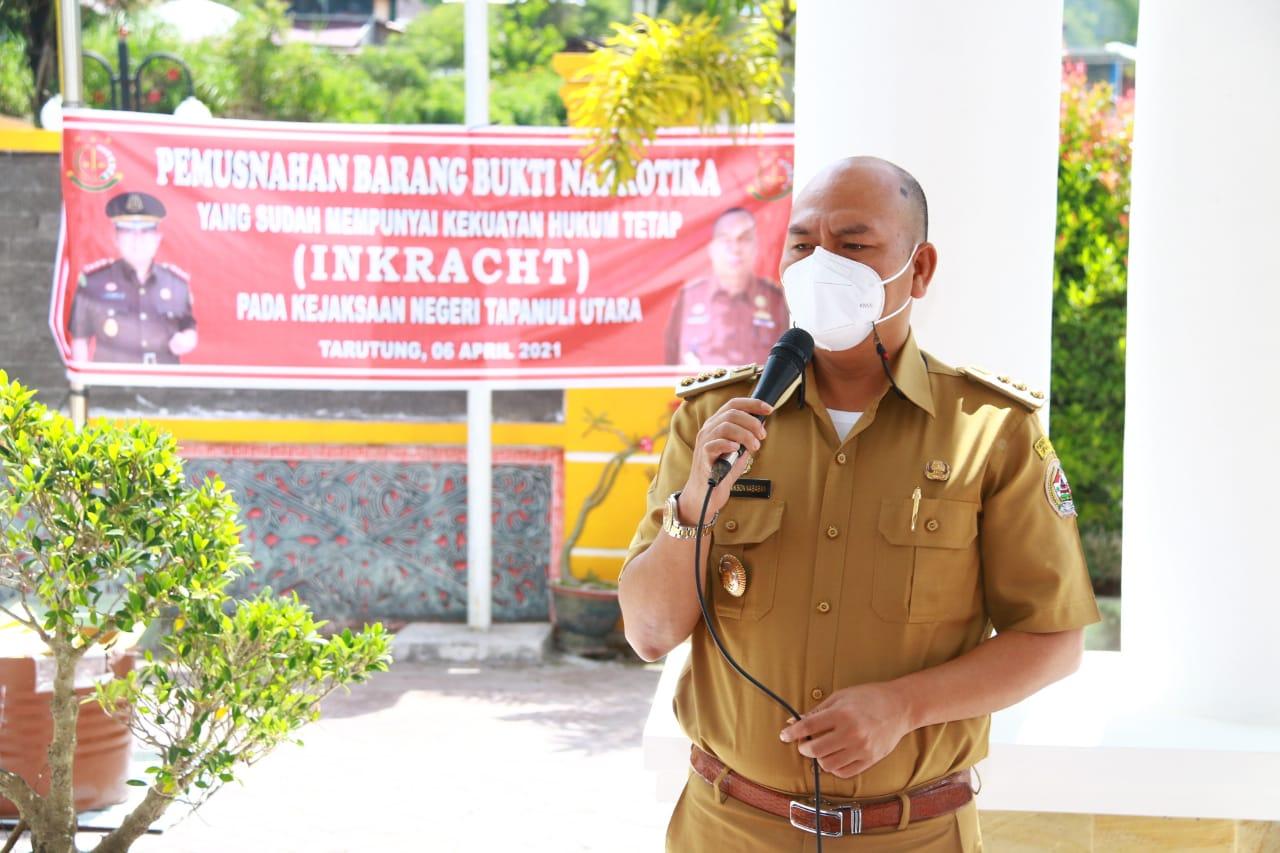 Bupati Taput Hadiri Acara Pemusnahan Barang Bukti Narkotika di Kantor Kejaksaan Tarutung
