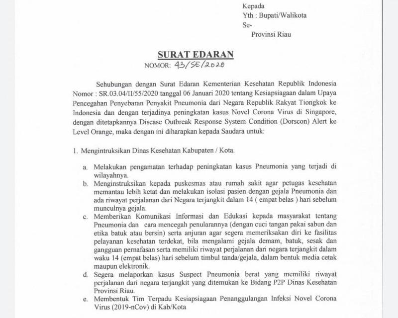 Berikut Langkah Strategis Gubernur Riau Untuk Antisipasi Covid-19