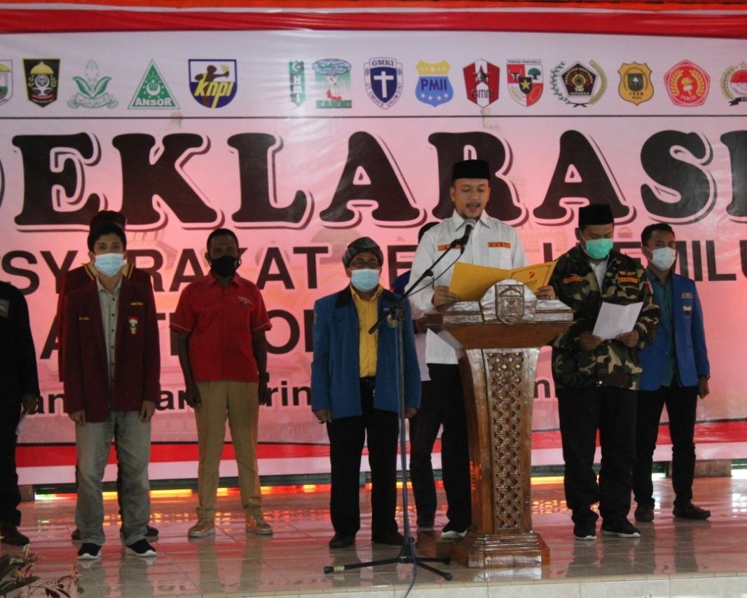 Bersama 19 Organisasi Masyarakat dan Kepemudaan Riau Deklarasi Anti Money Politic